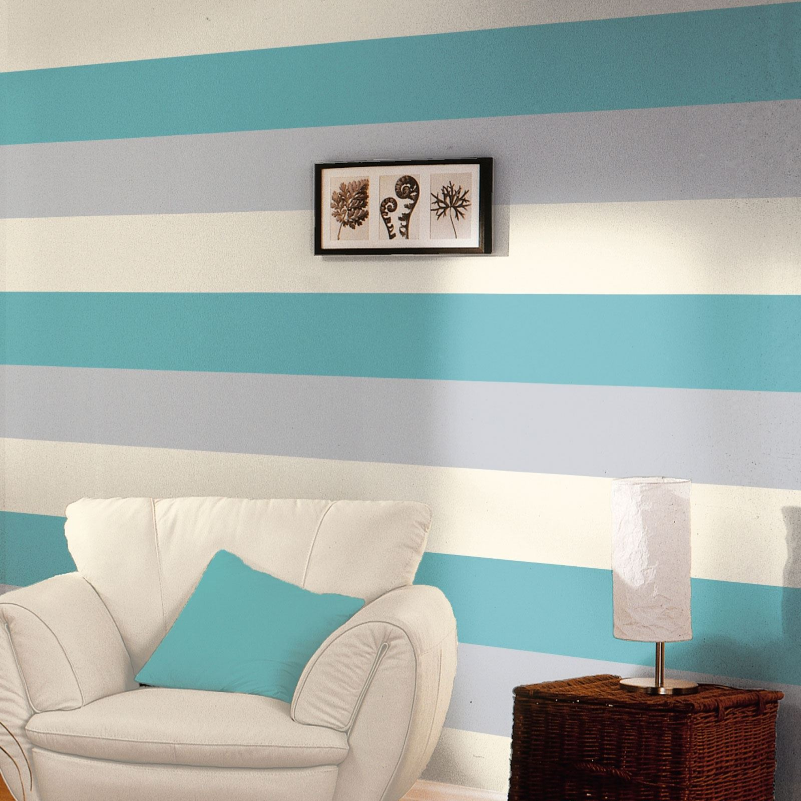 3 Colour Striped Textured Designer Wallpaper Teal Grey