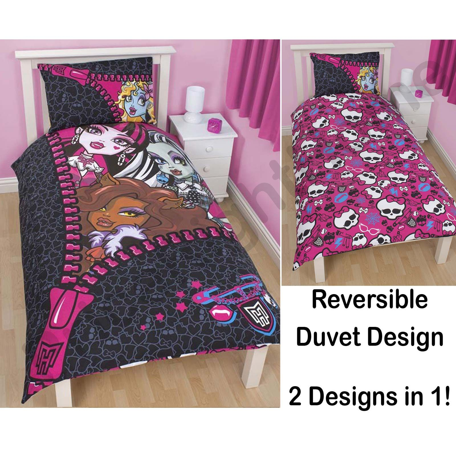 monster high 39 skullette 39 duvet cover 100 official new bedding free p p ebay. Black Bedroom Furniture Sets. Home Design Ideas