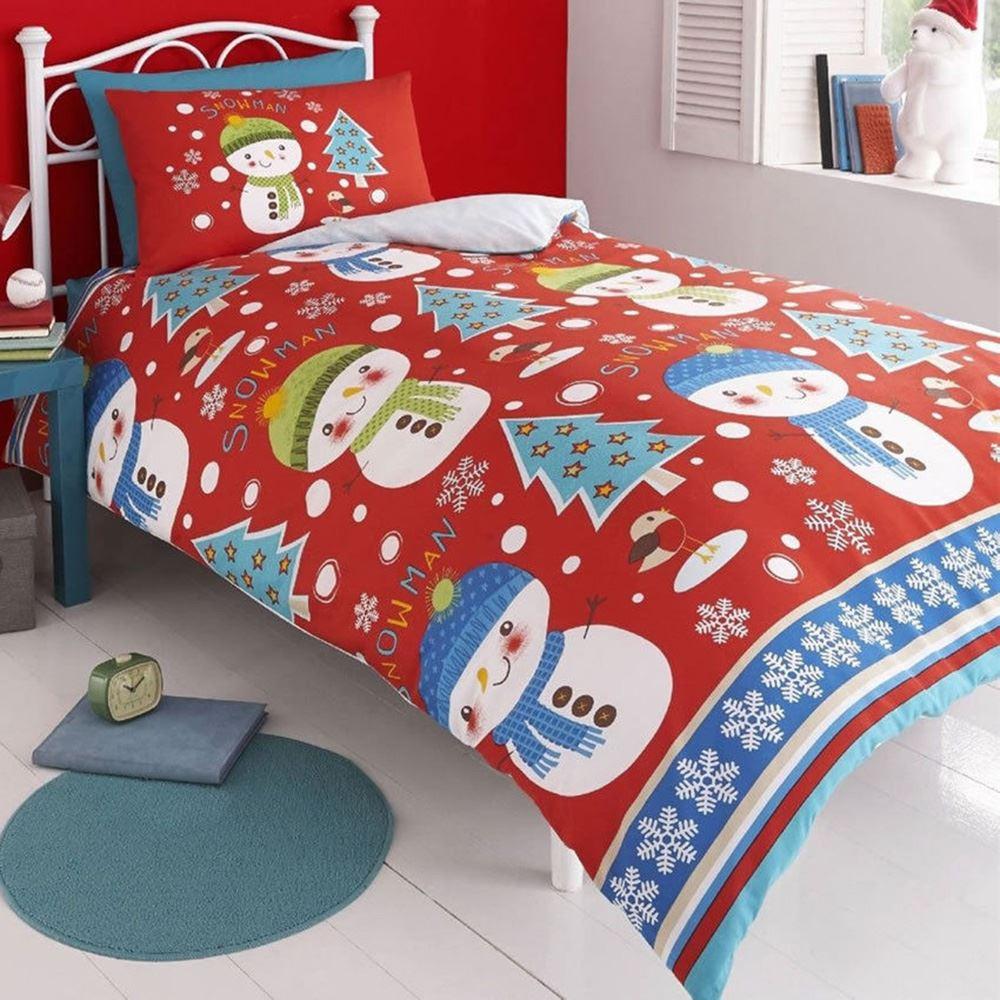 christmas snowman 100 brushed cotton duvet cover set new. Black Bedroom Furniture Sets. Home Design Ideas