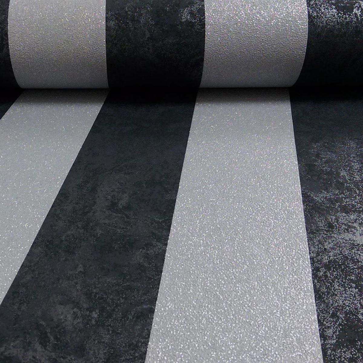 P s carat glitter stripe wallpaper black cream silver gold for Black and silver living room wallpaper