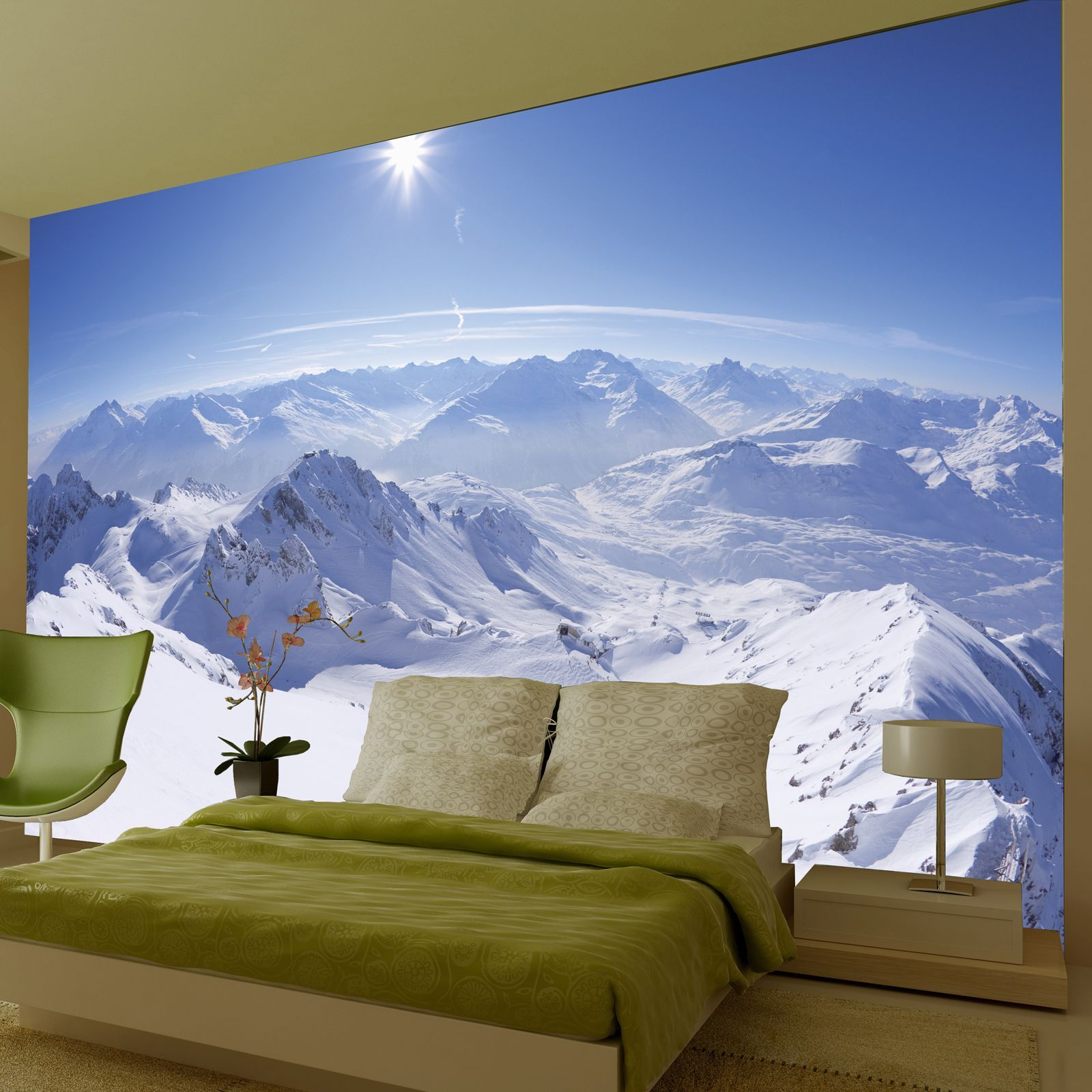 Large wallpaper feature wall murals landscapes for Diy mountain mural