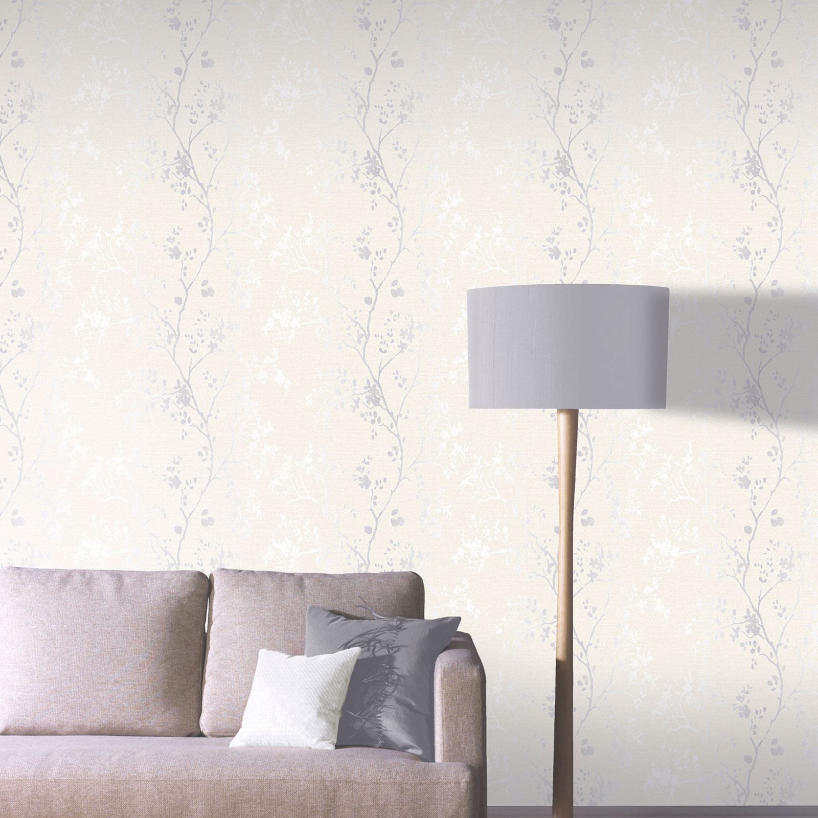 Arthouse precious metalle orabella blumen tapete perlmutt silber creme 673402 for Peinture beige rose