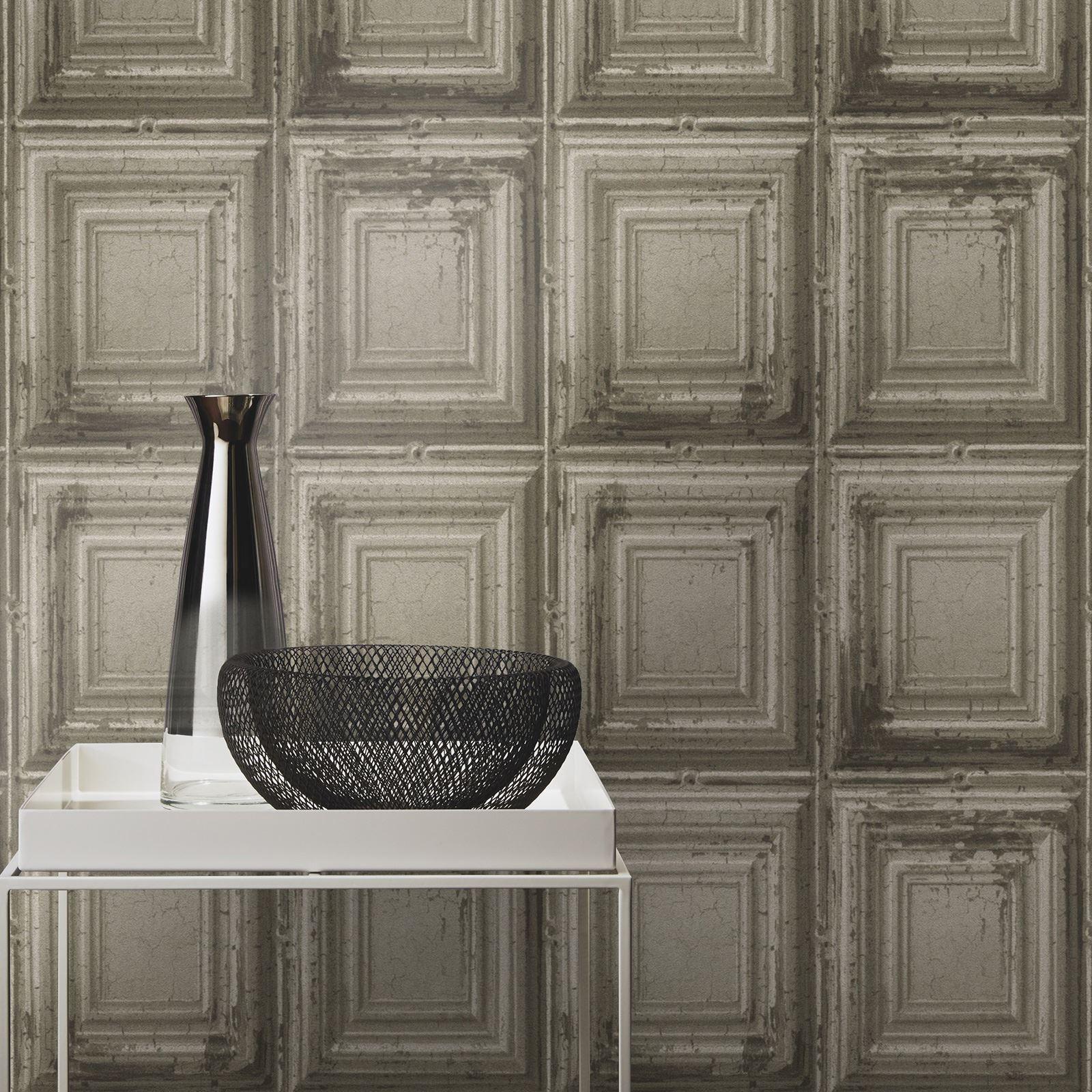 Distressed Wood Panel Wallpaper Rolls Rasch 932607