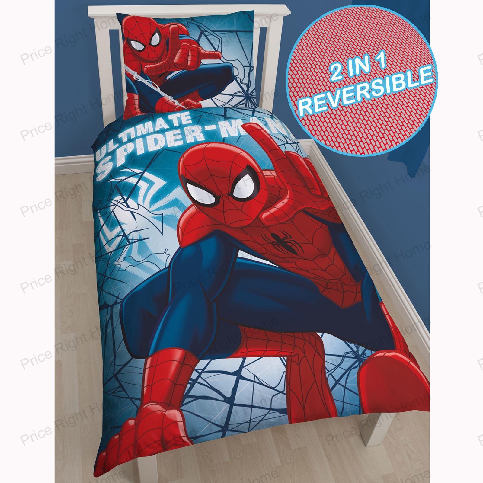 Marvel spiderman 100 coton taille europ enne set housse for Housse de couette spiderman