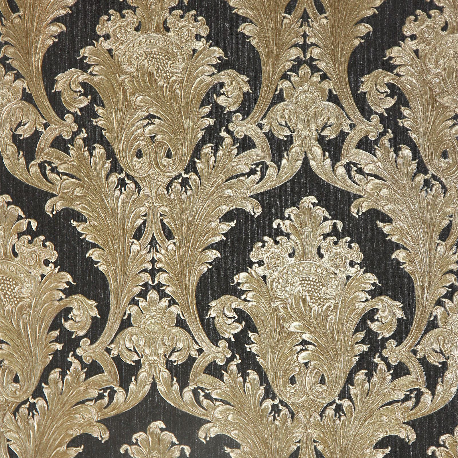 Arthouse figaro damask wallpaper red cream charcoal for Black and cream wallpaper