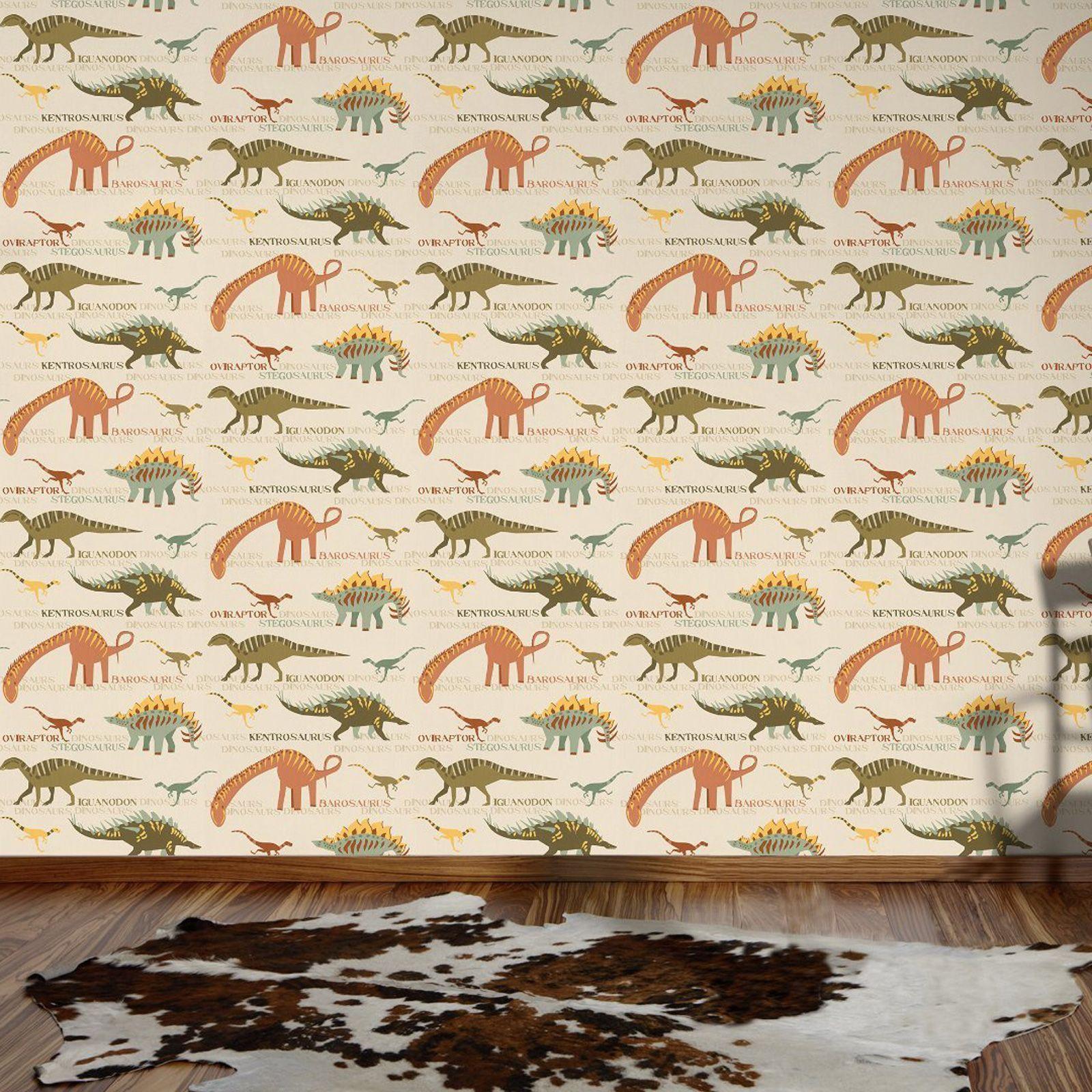 Animals wallpaper kids bedroom dinosaurs fox owls rabbits feature wall ebay - Paperboy dinosaur wallpaper ...