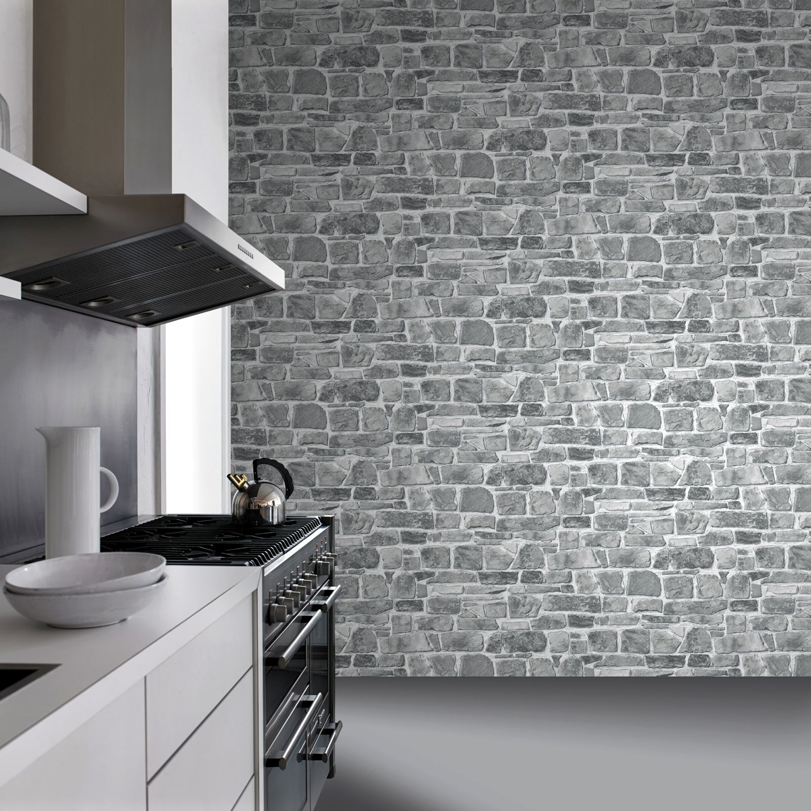 Grey stone wall wallpaper rasch 265620 new feature for Front room feature wallpaper