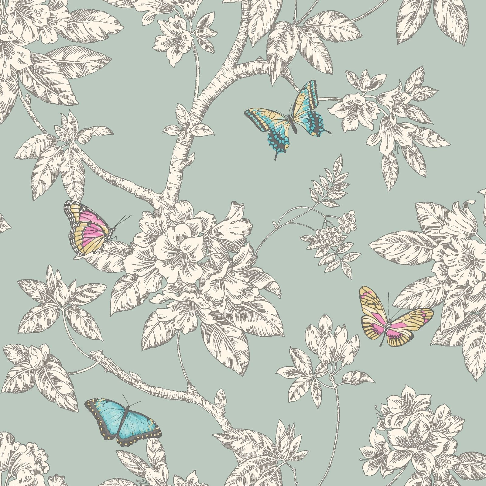 Tahlia butterfly wallpaper room feature wall teal white for Papel pintado romantico