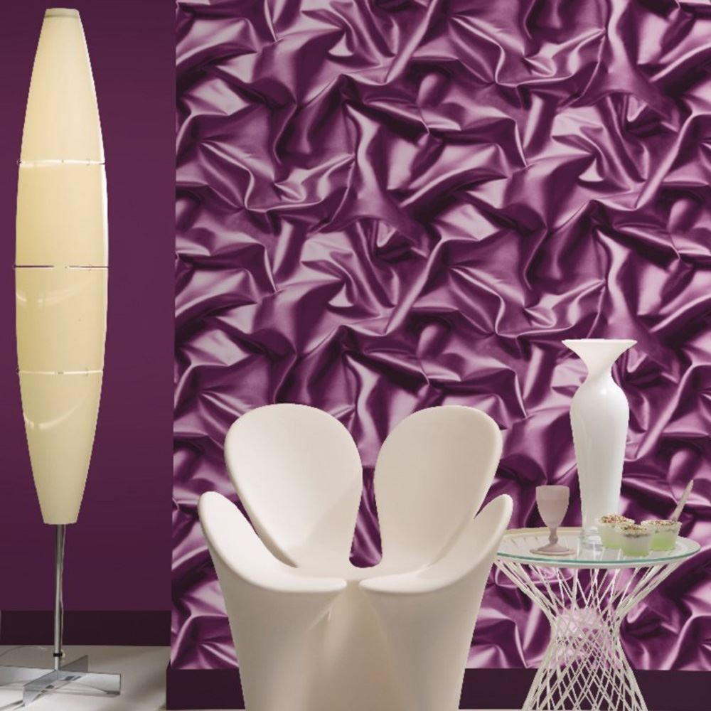 Muriva Crushed Satin Silk Effect Wallpaper Purple F72906