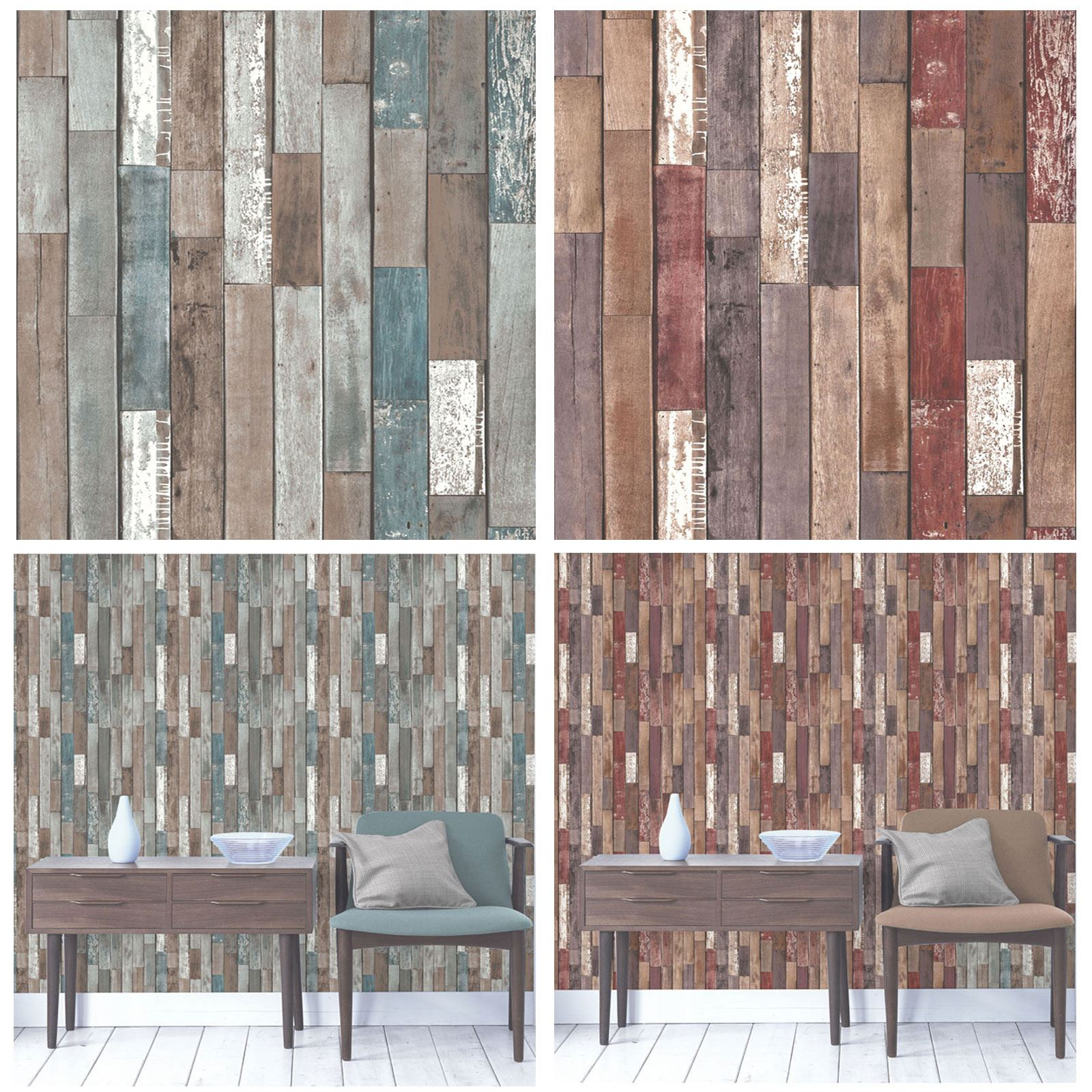 FINE DECOR RUSTIC EFFECT WOOD PLANKS WALLPAPER - BLUE ...