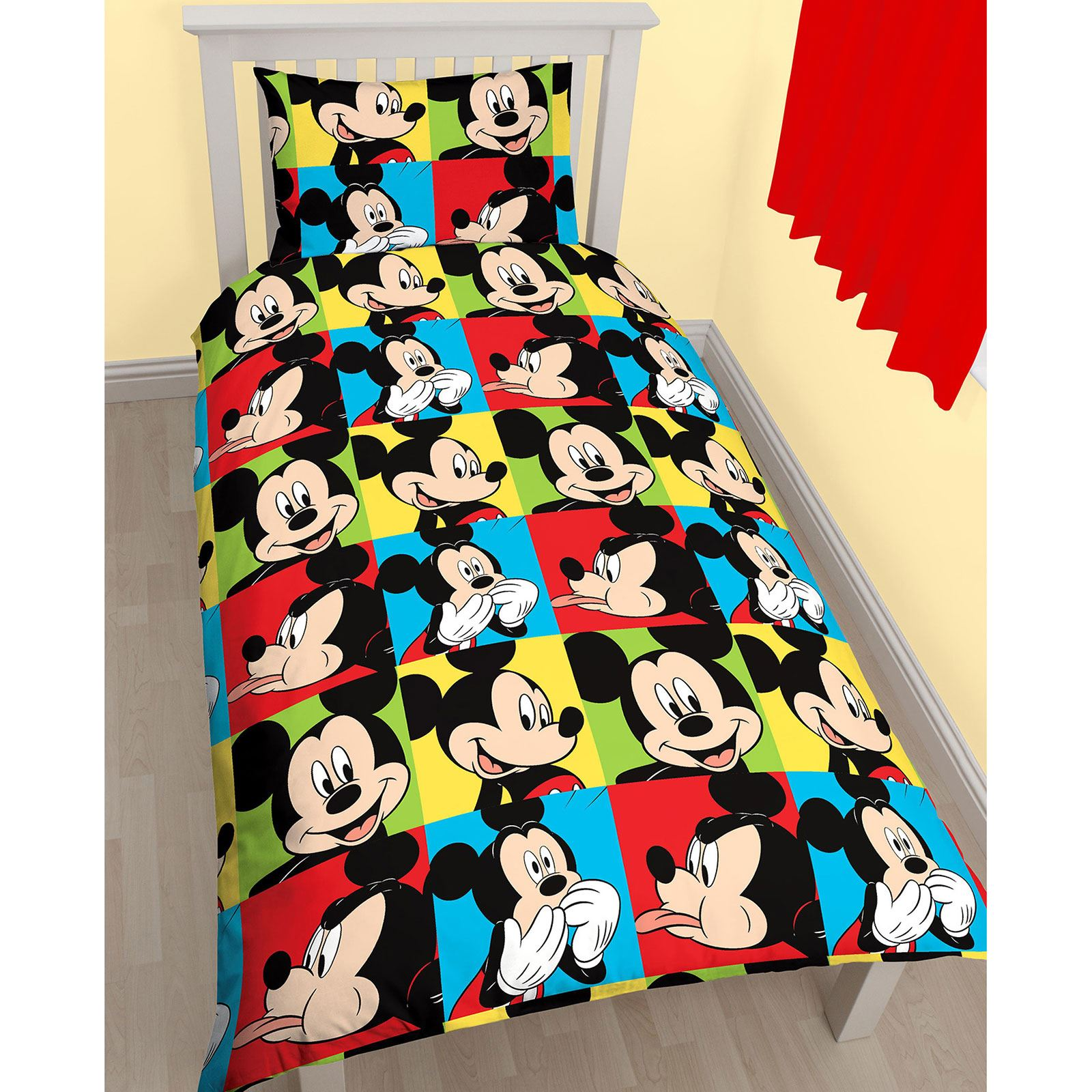 disney mickey mouse wende hell einzel bettw sche offizieller kinder bettw sche ebay. Black Bedroom Furniture Sets. Home Design Ideas