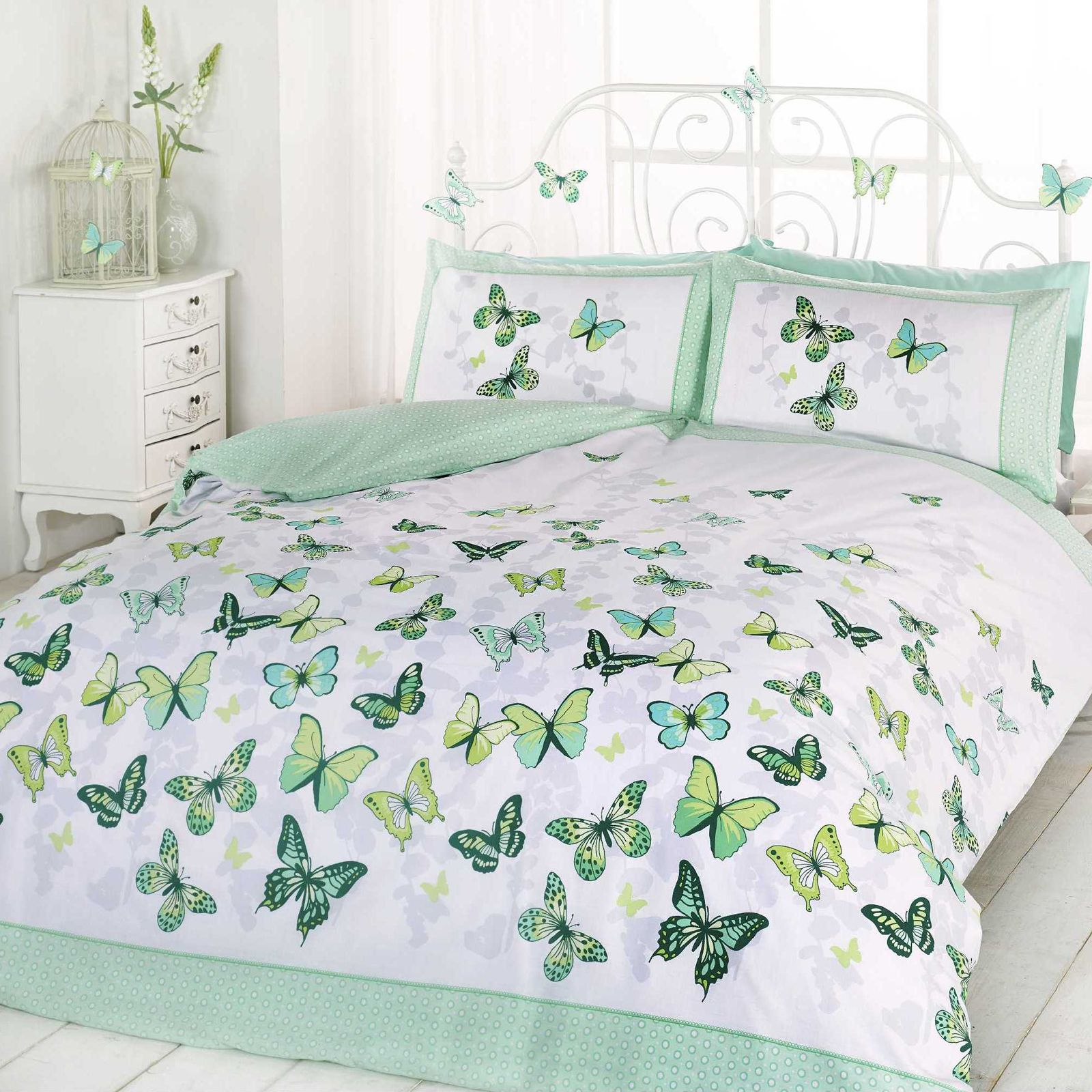 Butterfly Flutter Double Duvet Cover Set With 2x