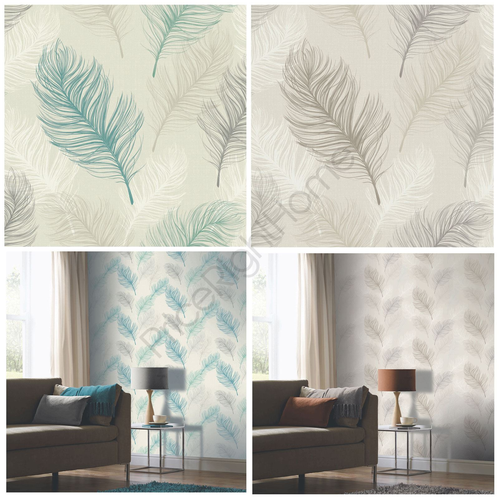Whisper feather wallpaper arthouse taupe teal for Feature wall wallpaper