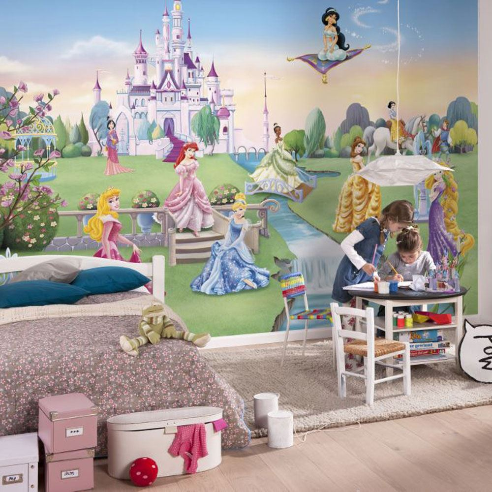 Disney princess frozen wallpaper murals anna elsa for Disney princess ballroom wall mural