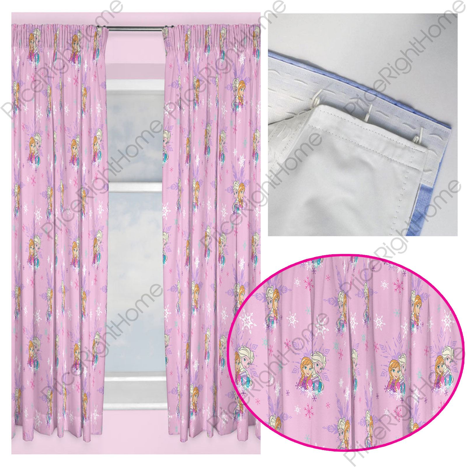 DISNEY FROZEN MAGIC CURTAINS, 2 DROP LENGTHS + CURTAIN