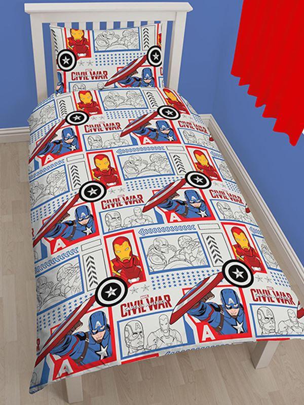 Marvel captain america civil war set housse de couette - Housse de couette iron man ...