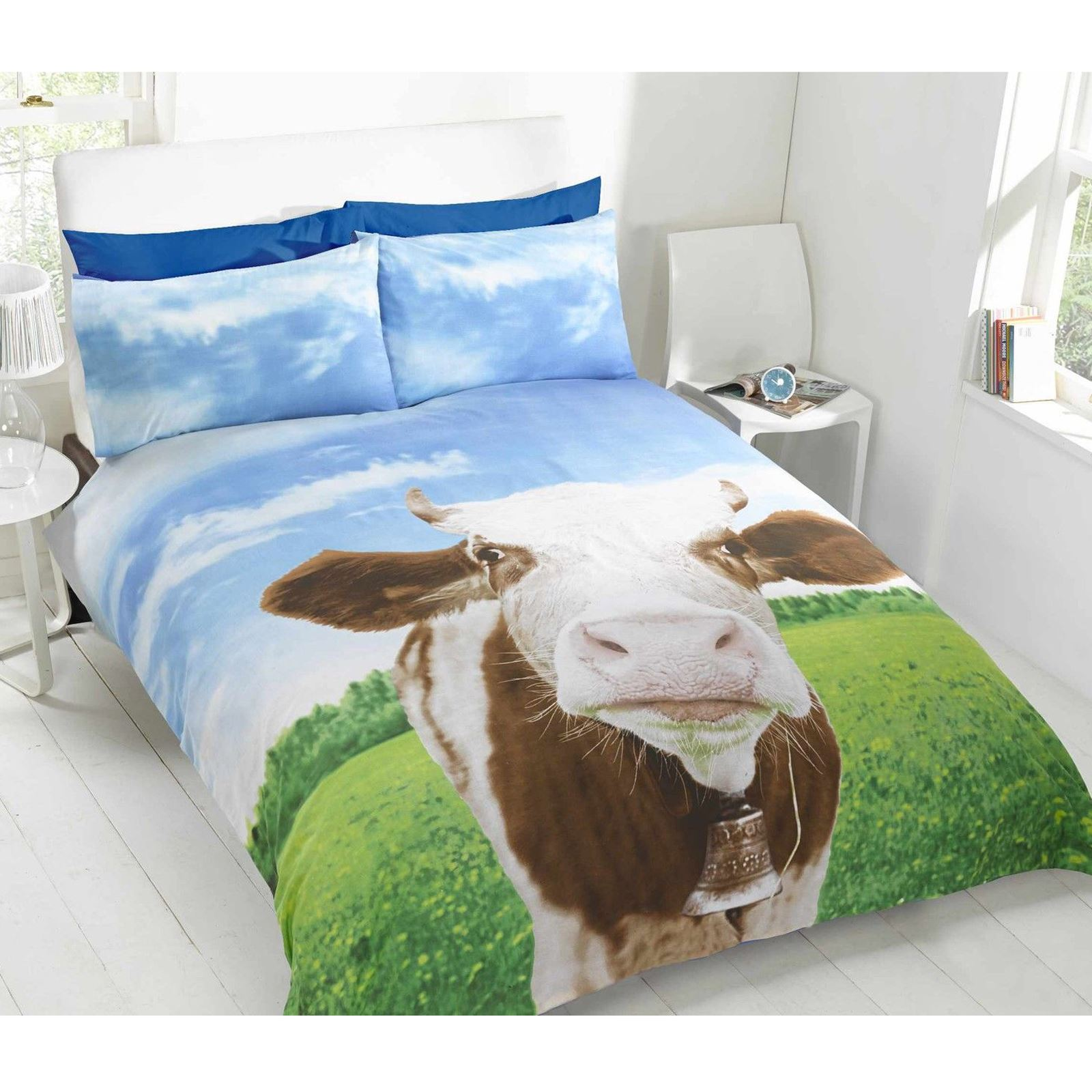daisy cow single duvet cover set new bedding ebay. Black Bedroom Furniture Sets. Home Design Ideas