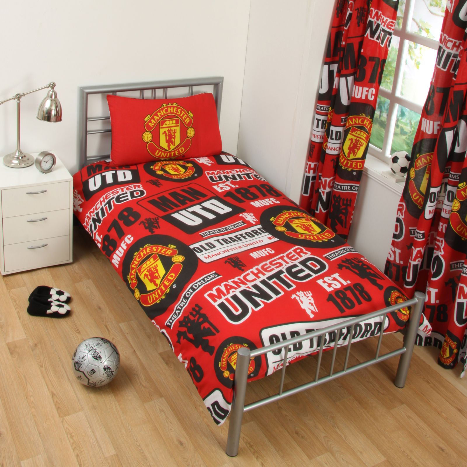 MANCHESTER UNITED FC SINGLE AND DOUBLE DUVET COVER SETS ...