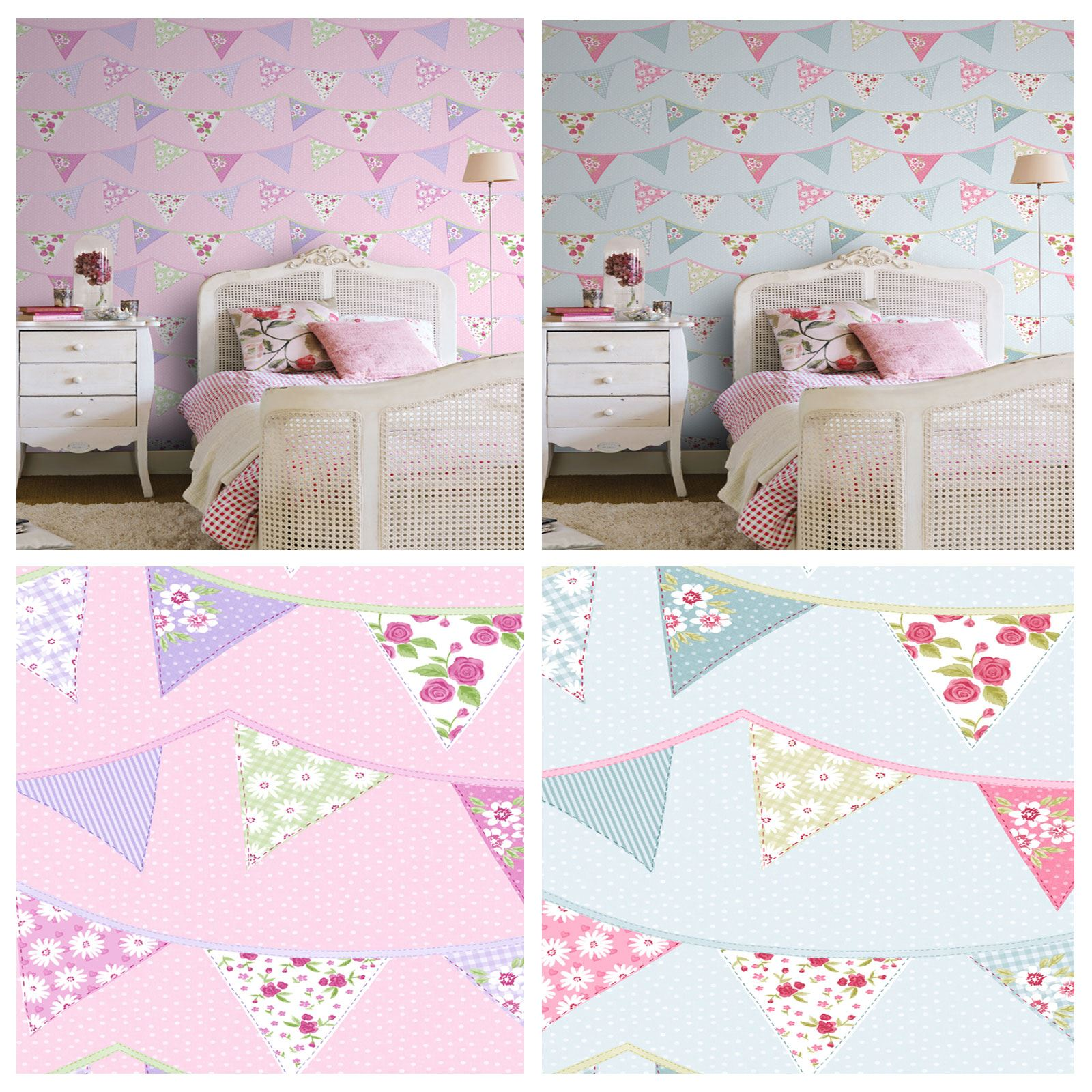 Bunting wallpaper blue pink pastel floral design washable for Girls bedroom wallpaper