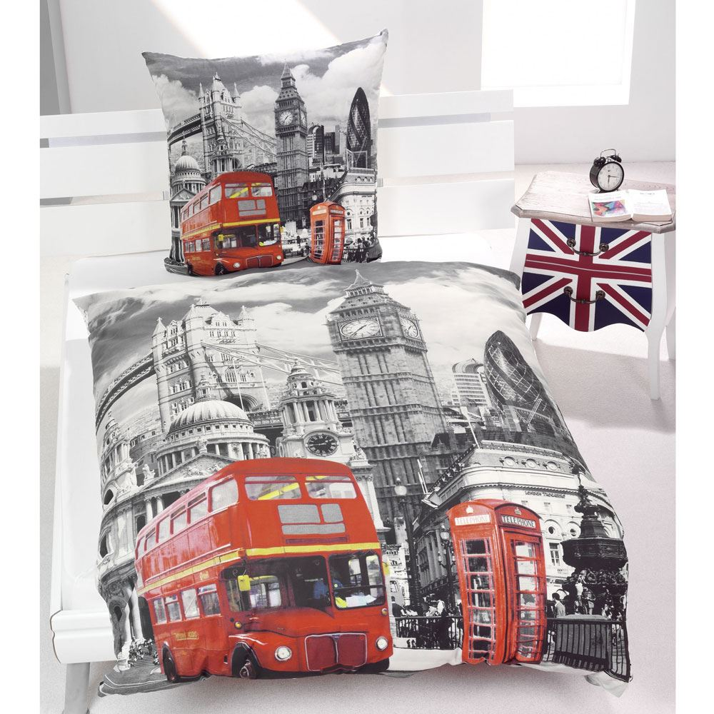 london bedding single duvet cover sets city landmarks big ben bedroom union jack ebay. Black Bedroom Furniture Sets. Home Design Ideas
