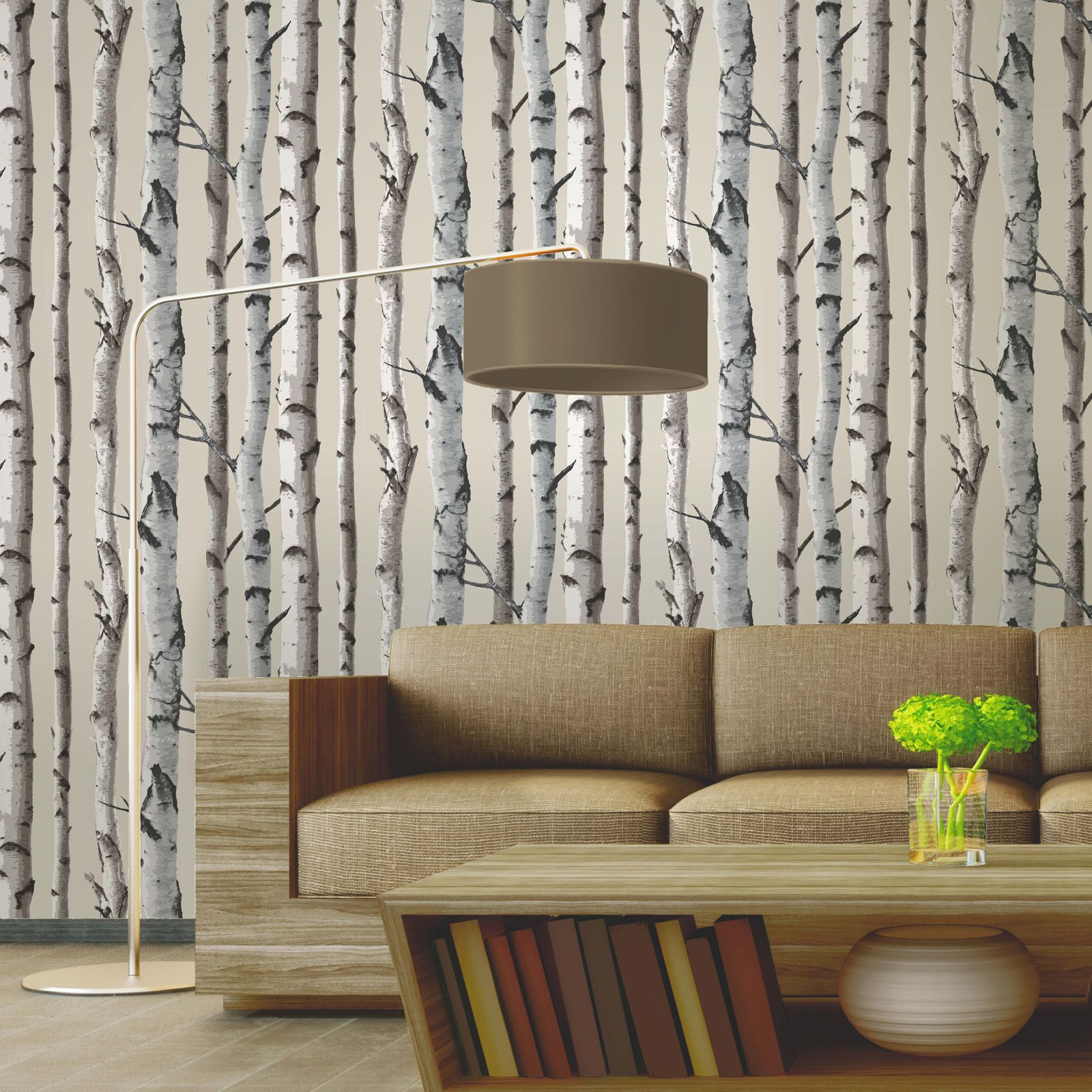 fine decor birch trees 10m wallpaper white silver new. Black Bedroom Furniture Sets. Home Design Ideas