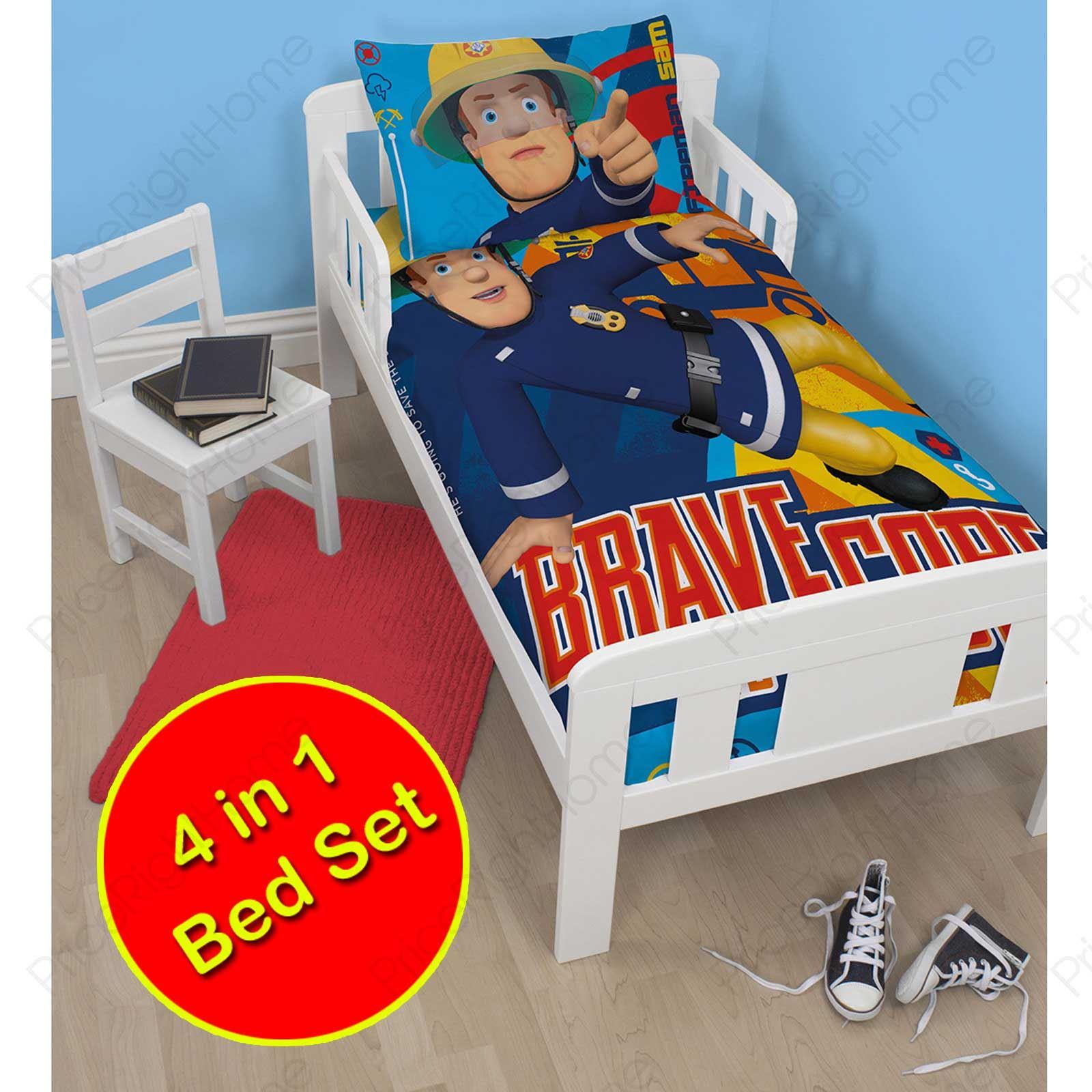 FIREMAN SAM 'BRAVE' 4 in 1 JUNIOR COT BED BEDDING BUNDLE ...