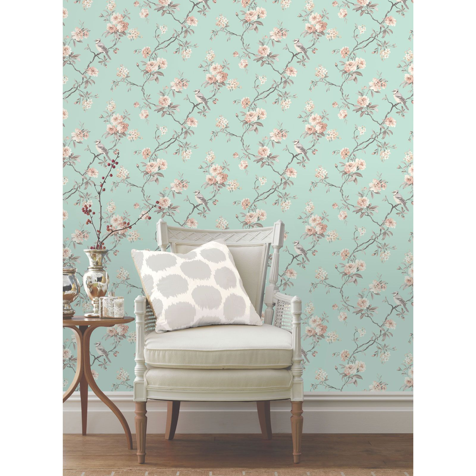 Duck Egg Blue Teal Wallpaper Owl Bird Peacock Scroll