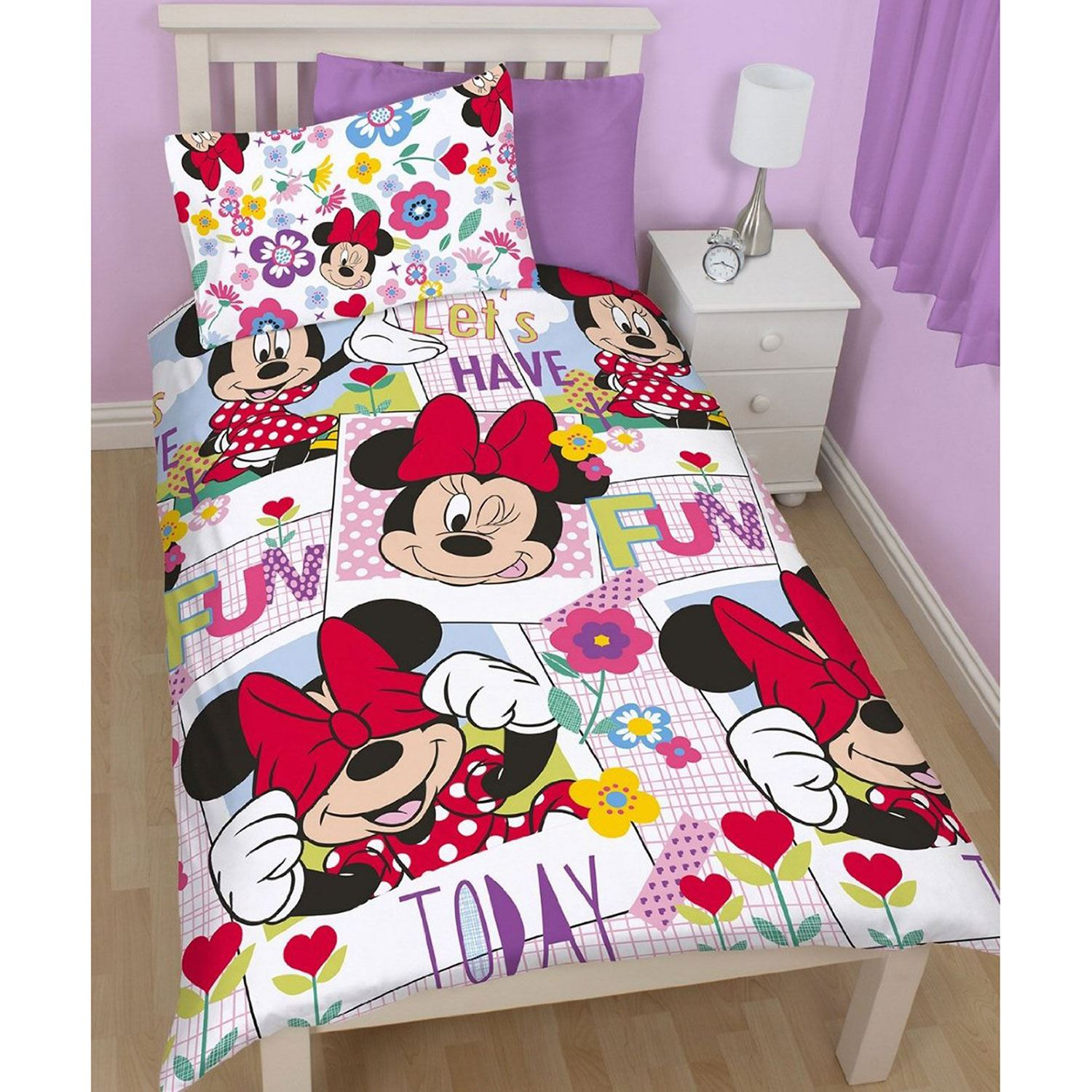Disney Minnie Mouse Meadow Single Duvet Cover Set 2 In 1
