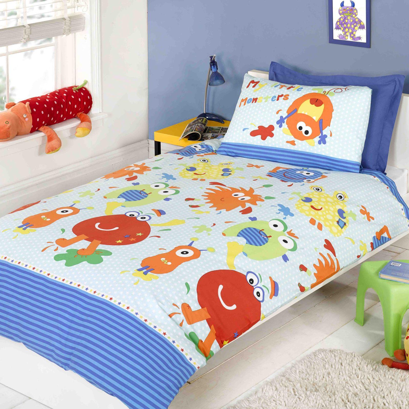 Piccolo mostri blu set copripiumino singolo biancheria da letto bambini ebay - Piumini letto singolo bambini ...