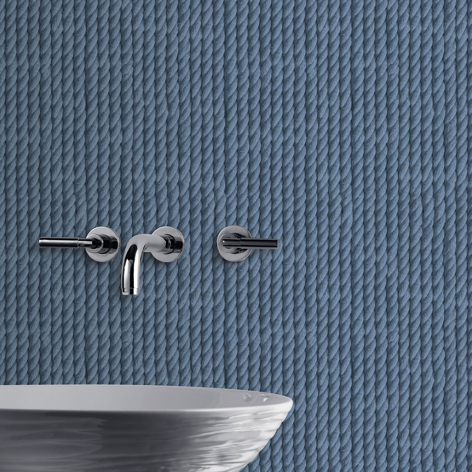 Wall Decor With Rope : Rope wallpaper available in blue natural feature
