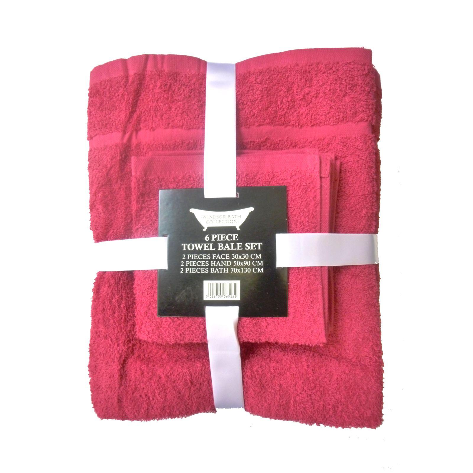 6 piece 100 cotton bath towel bale set 9 colours for New bathroom set