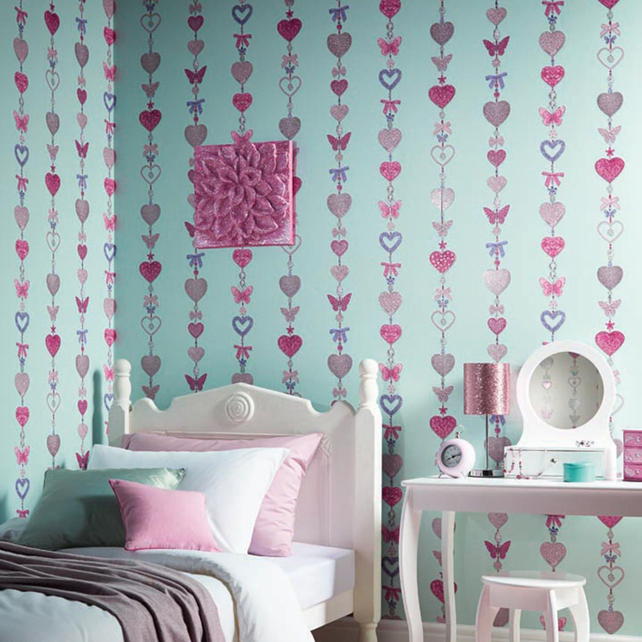 ARTHOUSE GLITTER DETAIL KIDS GIRLS BEDROOM WALLPAPER