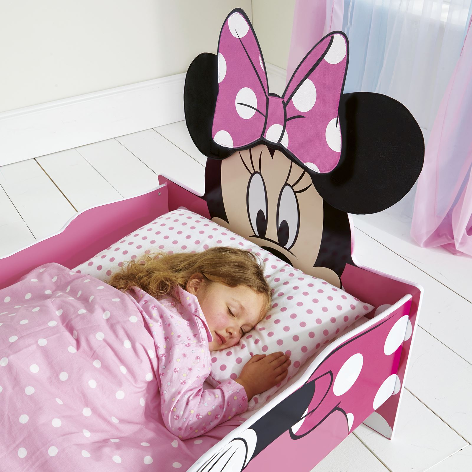 MINNIE MOUSE SNUGGLETIME MDF TODDLER BED MATTRESS NEW