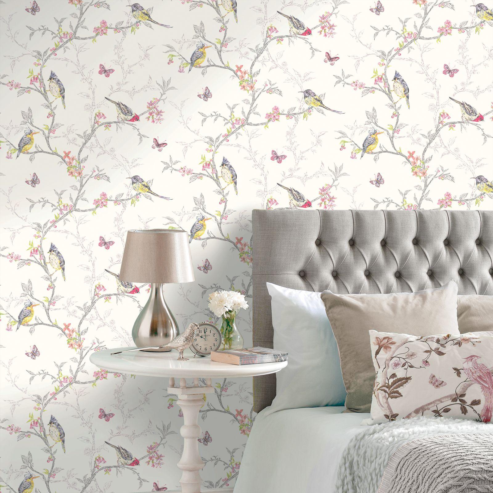 Beautiful room decor holden phoebe birds wallpaper cream for Cream wallpaper for walls