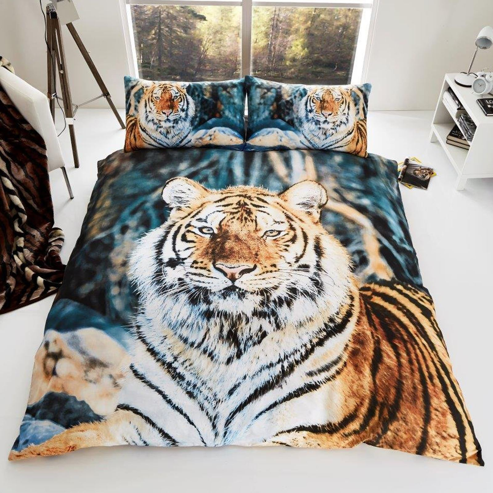 tigre 3d housse de couette king size animal sauvage. Black Bedroom Furniture Sets. Home Design Ideas