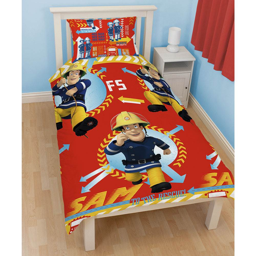 FIREMAN SAM DUVET COVER SETS IN SINGLE DOUBLE AND JUNIOR SIZES BOYS BEDROOM
