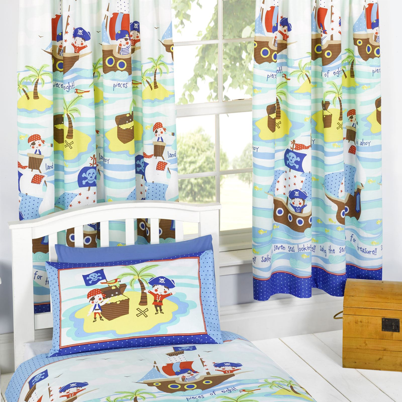 ... zu Pirates 'Seven Seas' Fully Lined Curtains with Tie-Backs (FREE P+P