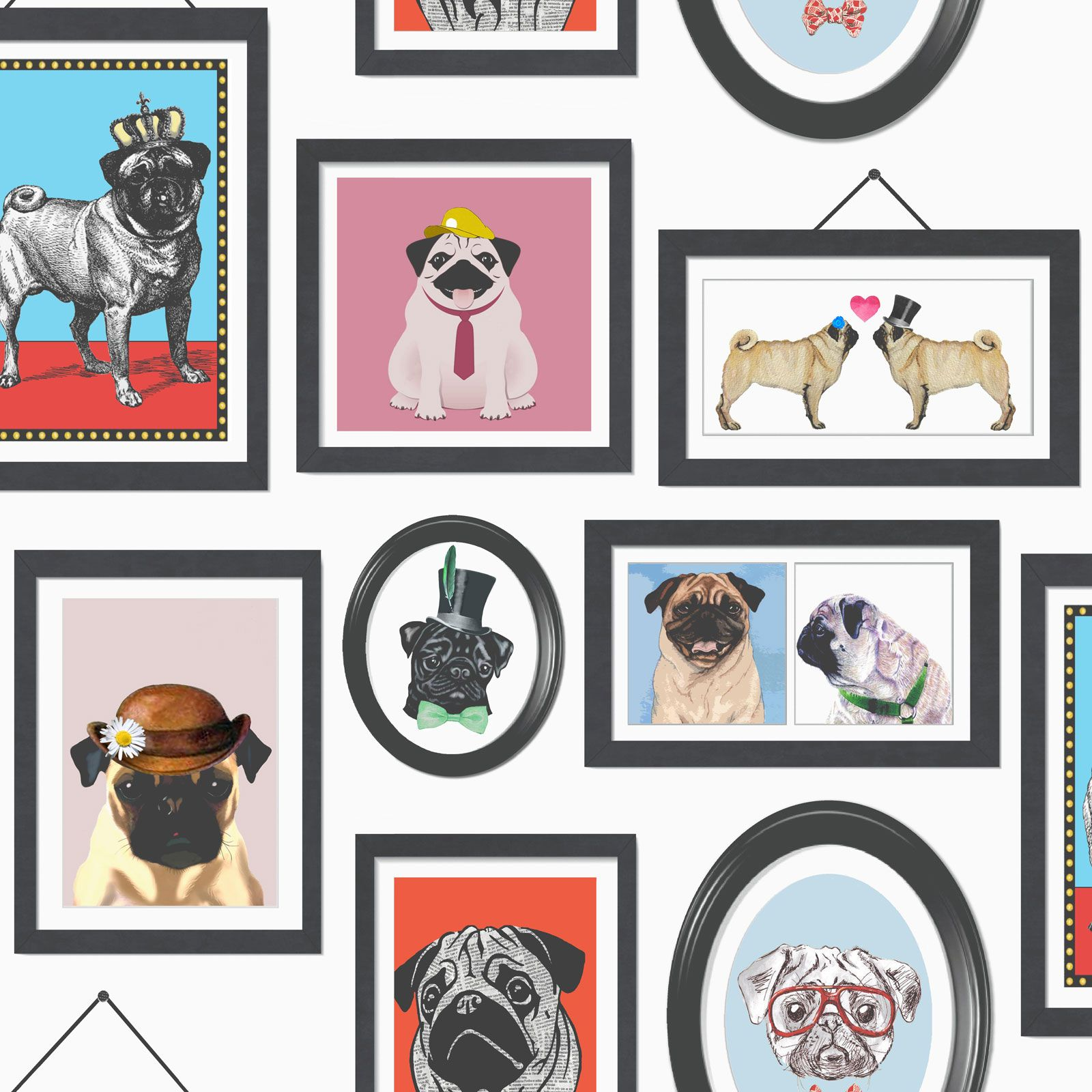 A PUG'S LIFE PUG DOG WALLPAPER (11360) HOLDEN DECOR NEW