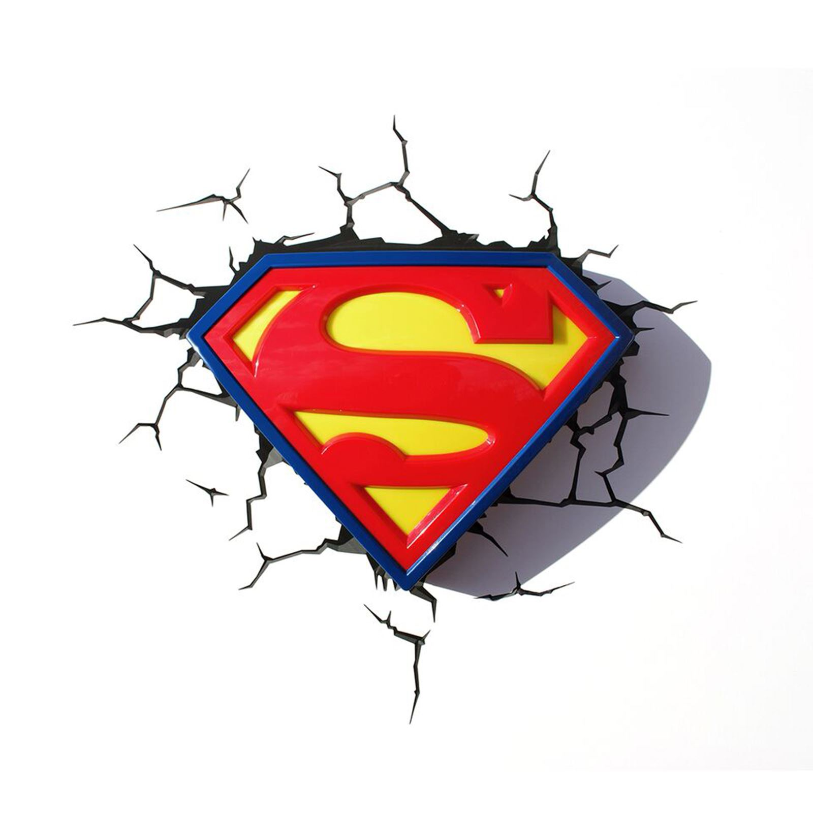 Superman Logo 3d Led Deco Wall Night Light Amp Crack Sticker Ebay
