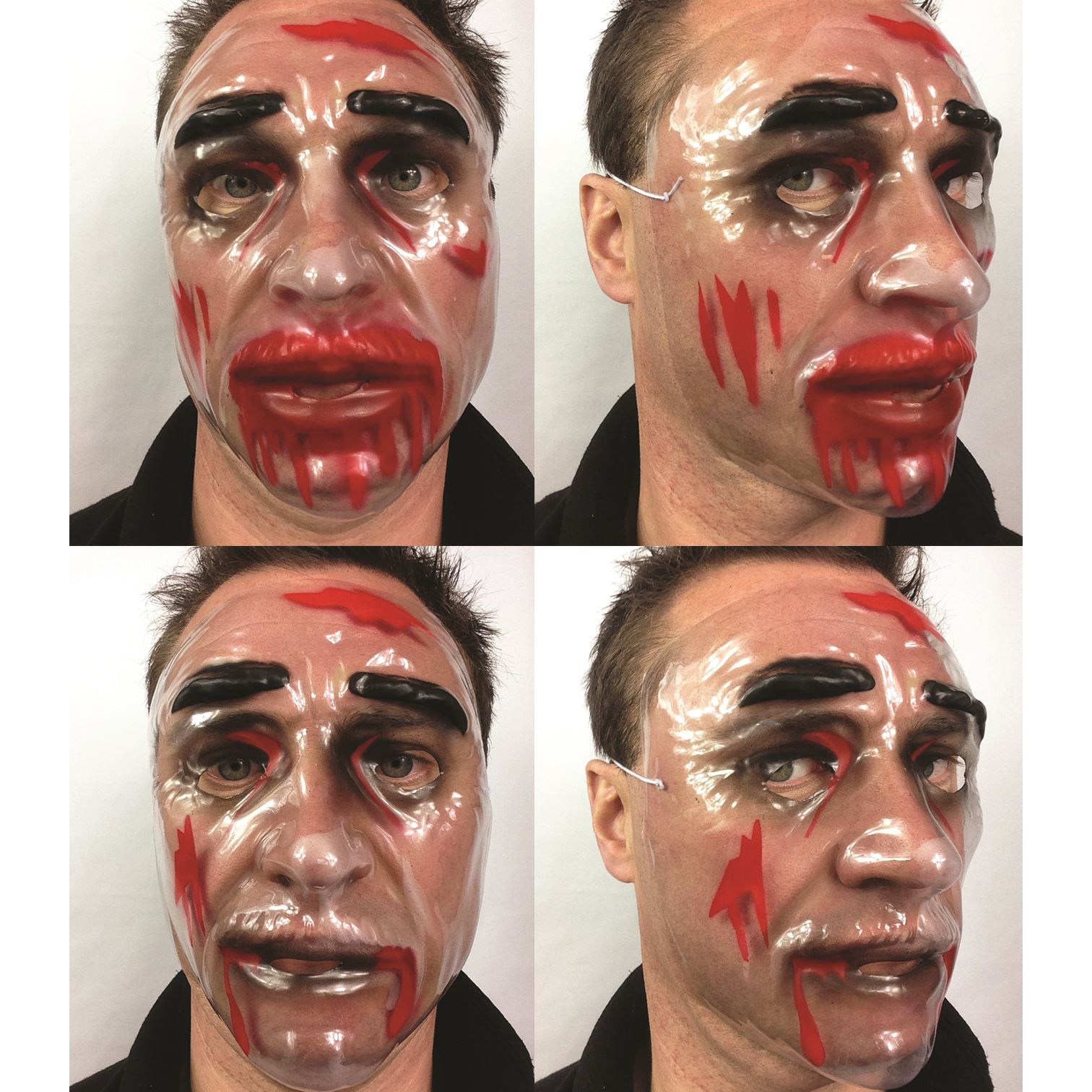 Transparent Plastic Halloween Horror Purge Style Blood Scars Fancy ...