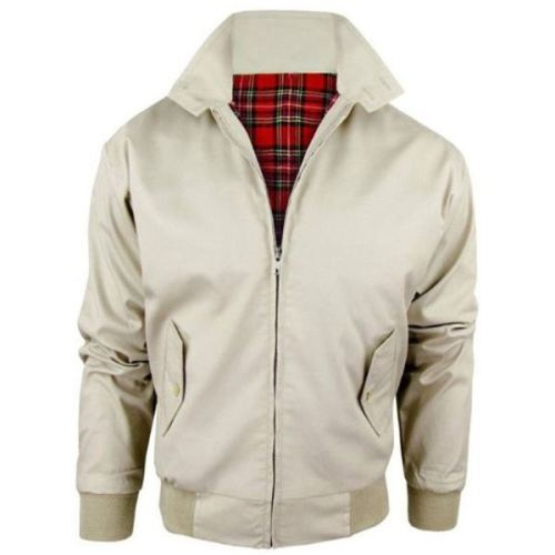 Womens Classic Retro Biker Zip Up Harrington Bomber Jacket Stone ...
