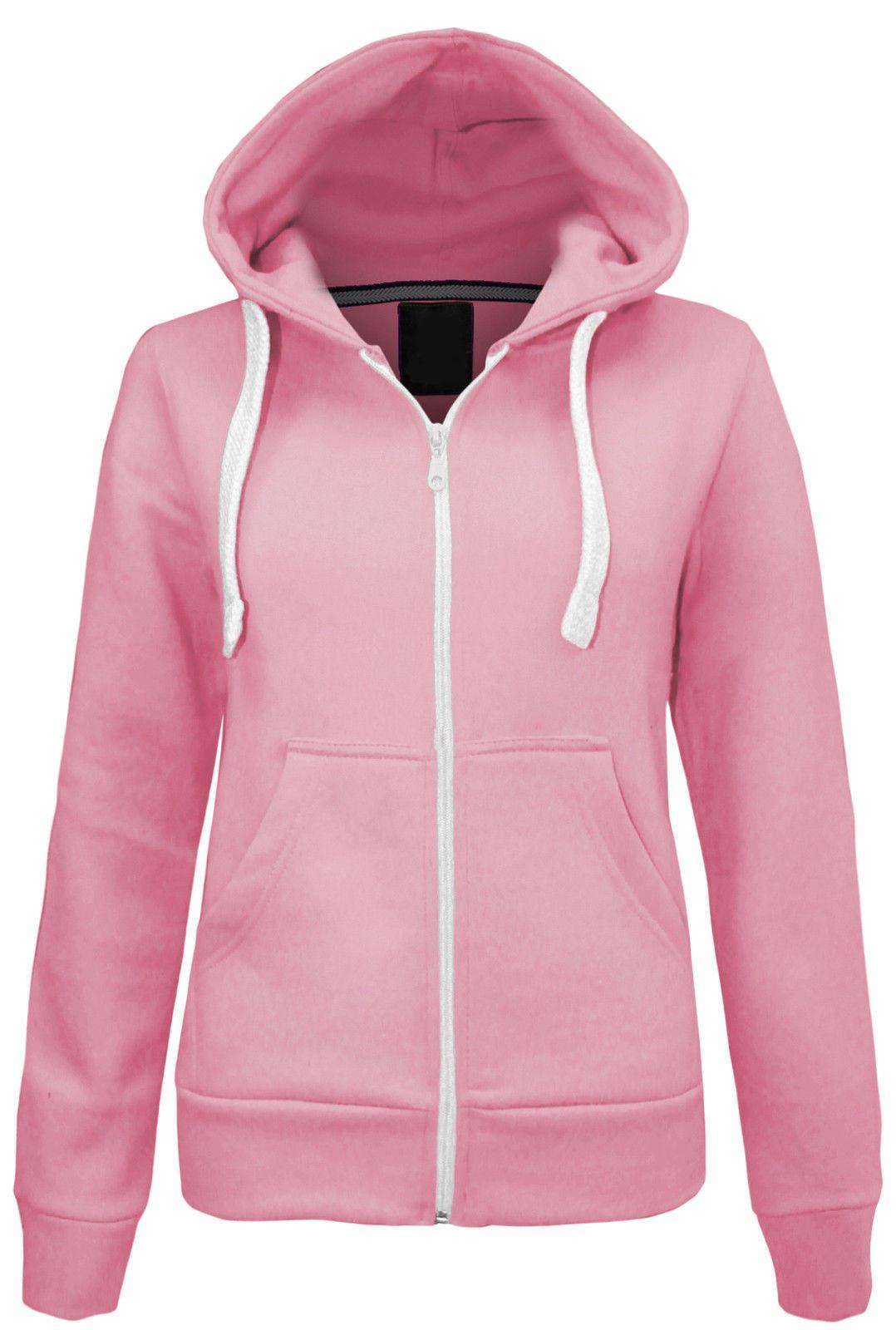 Womens Plain Colour Fleece Malaika Hoodie zipper Hood Plus Size ...