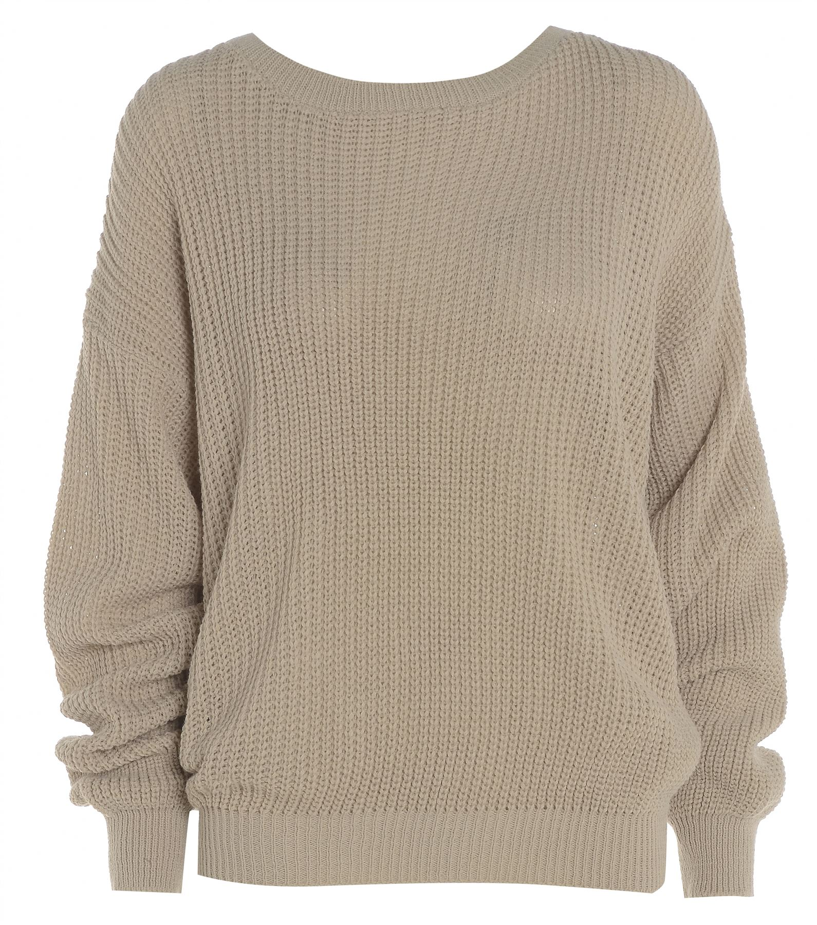 Womens Ladies PLAIN COLOUR BAGGY JUMPER Chunky Sweater ...