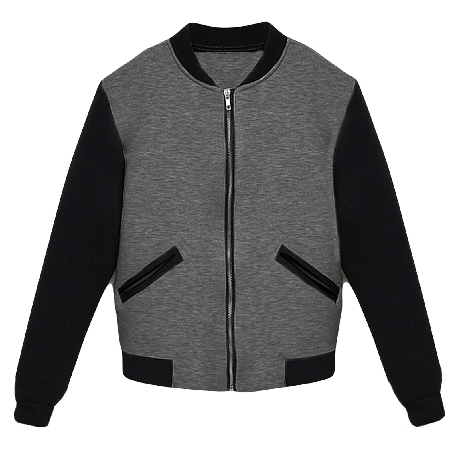 Womens Varsity Baseball Slim Fit Long Sleeve Coat Jacket