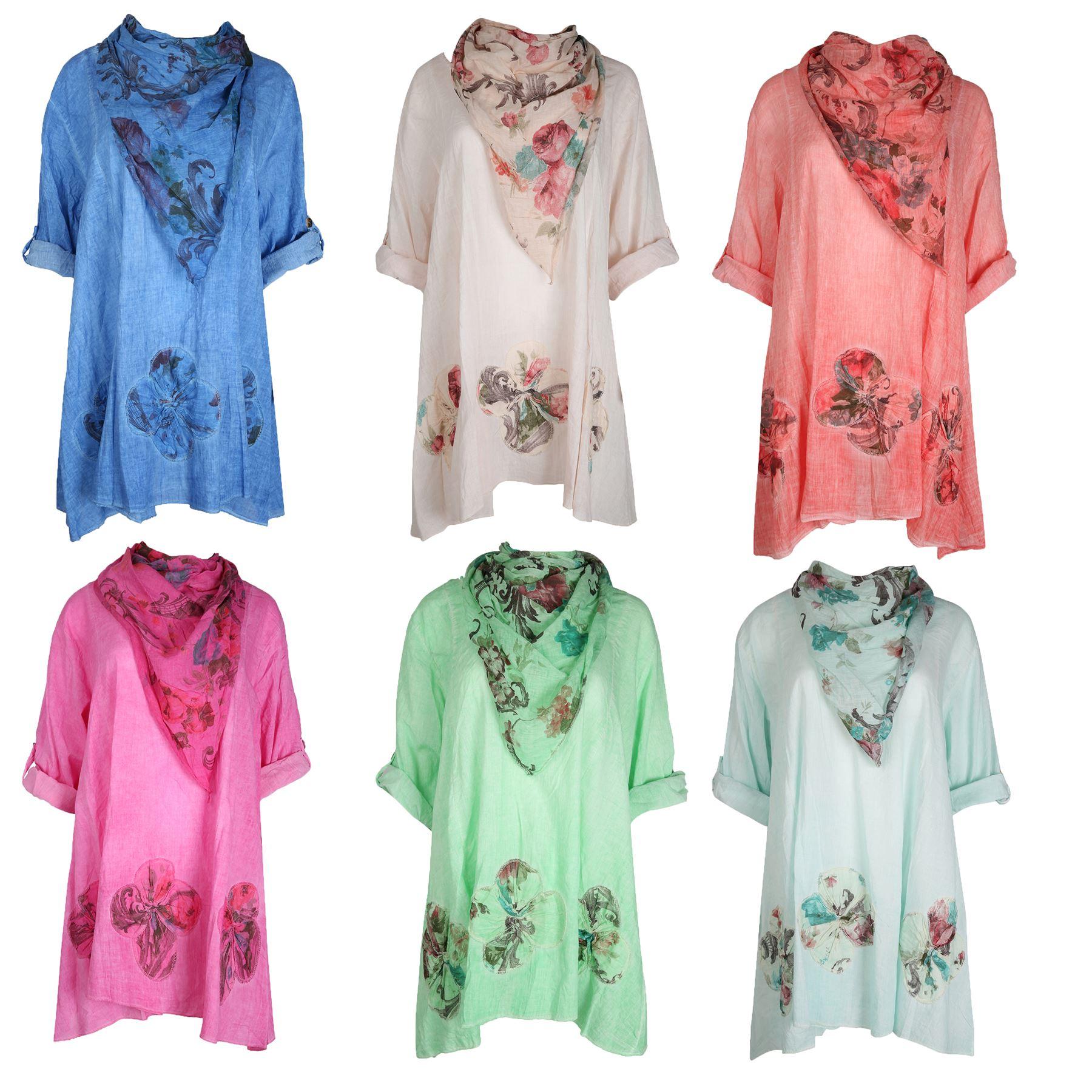 womens leganlook italian cotton floral tunic top
