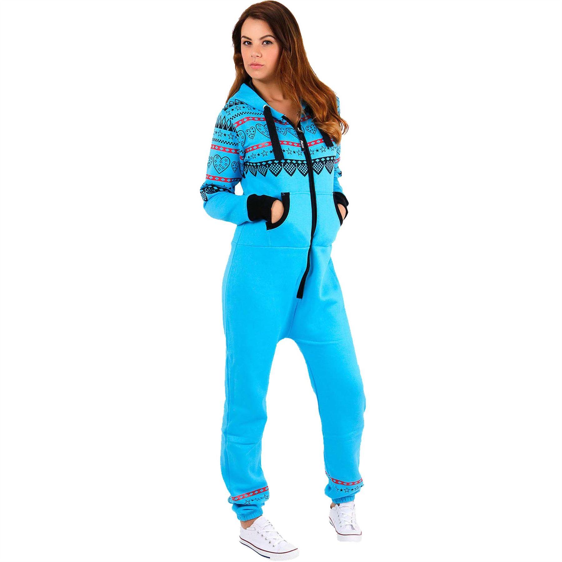 ladies hooded heart print onesie jumpsuit womens playsuit. Black Bedroom Furniture Sets. Home Design Ideas