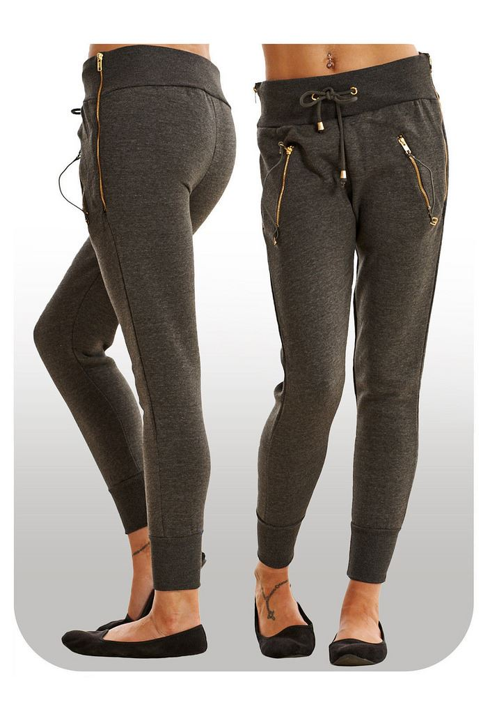 Womens Fleece Zipper Joggers Ladies Gym Trousers Zip