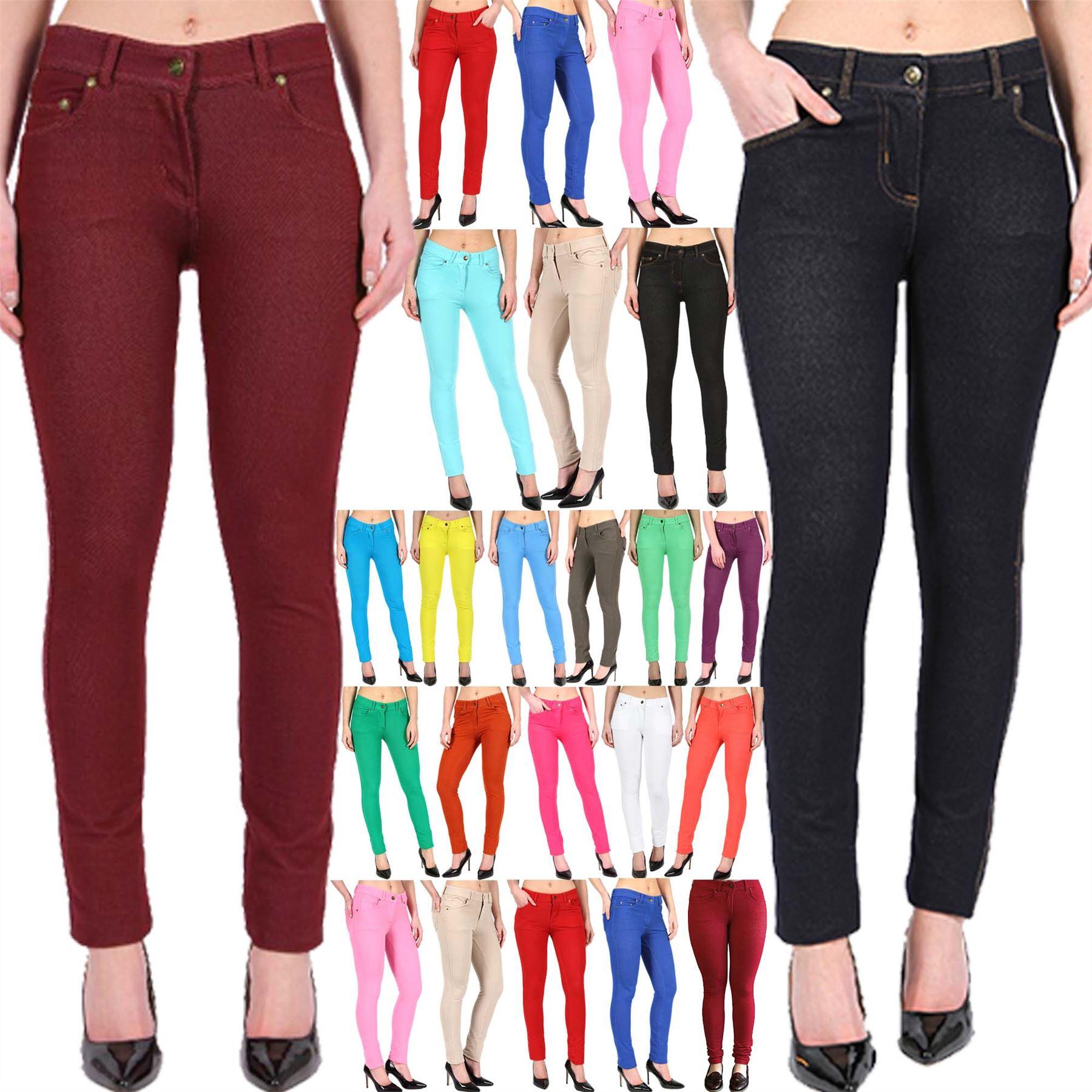 New Ladies Skinny Leggings Jeggings Womens Coloured ...