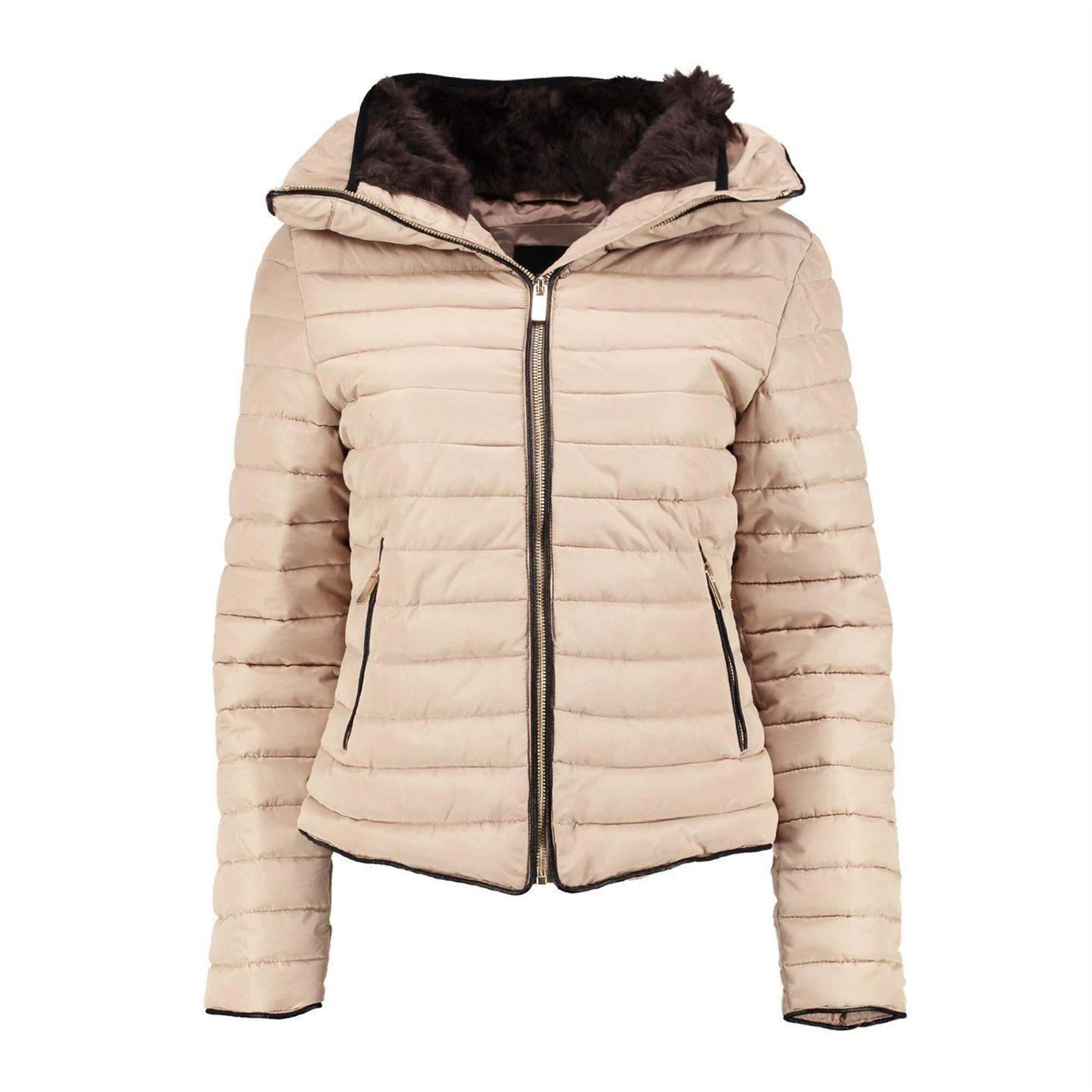 Ladies Quilted Padded Bubble Fur Womens Kids Thick Puffer