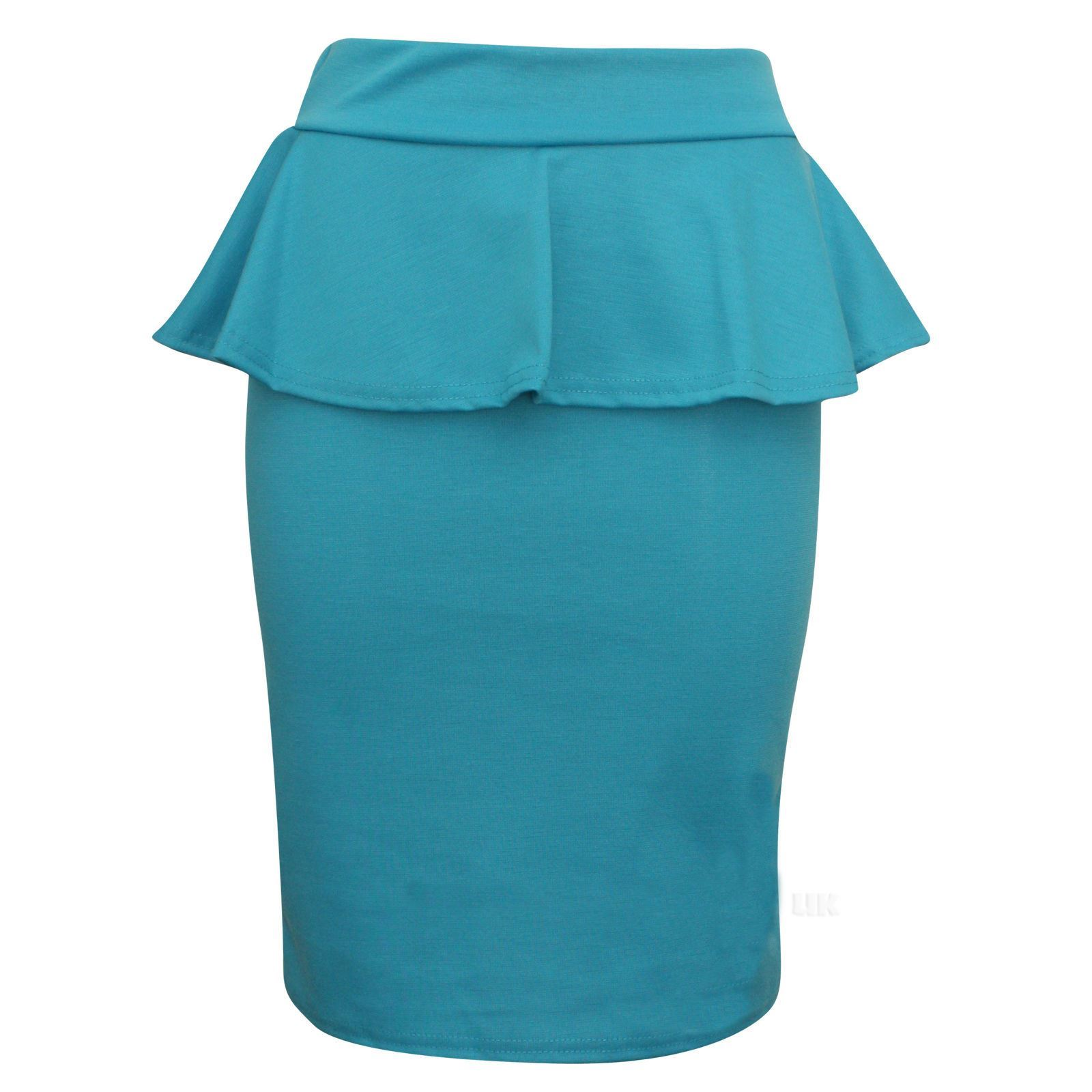 womens peplum frill knee length pencil fitted